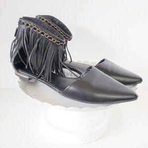 Rebecca Minkoff Black Leather Fringe Pointed Flats